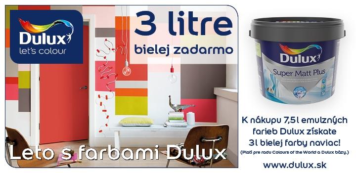 Nakúpte Dulux 7,5 lit. farebných emulzií a dostanete 3lit. Dulux Supermat ZADARMO. Žiadajte u svojich predajcov farieb Dulux.